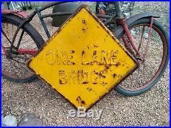 Rare Old Original Embossed One Lane Bridge Heavy Metal Road Sign Vintage Country