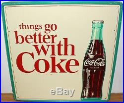 Rare Original Vintage 1960's Things Go Better with Coke Large Metal Sign