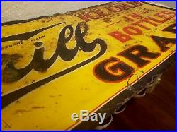 Rare Vintage 1920's THRILL GRAPE Soda Pop SIGN 40 Metal Embossed gas oil