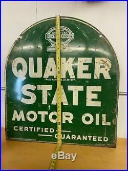 Rare Vintage 1930's Quaker State Motor Oil 2 Sided Metal Sign