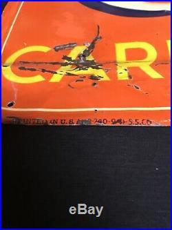 Rare. Vintage 1930s 40s Orange Crush Tin Metal Embossed Soda Pop Sign. Original