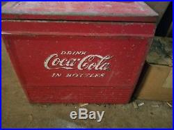 Rare Vintage 1940's Coca Cola Soda Pop Airline Cooler Embossed Metal Sign