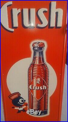 Rare Vintage 1940's Orange Crush Crushy Soda Pop 38 Embossed Metal Sign