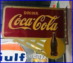 Rare Vintage 1946 Coca Cola Soda Pop Gas Station 2 Sided 24 Metal Flange Sign