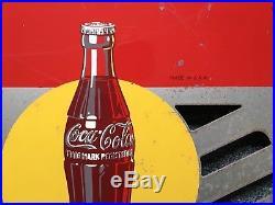 Rare Vintage 1948 Coca Cola Soda Pop Bottle 2 Sided 24 Metal Flange Sign