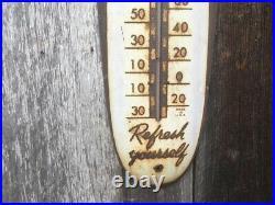 Rare Vintage 1950's Coca Cola Soda Pop 30 Metal Cigar Thermometer SignNice