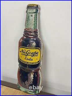 Rare Vintage 1950's NuGrape Nu Grape Soda Pop 17 Embossed Metal Sign