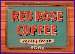 Rare! Vintage 1956 Red Rose Coffee Sign 27.5 x 19 Embossed Metal Great Color