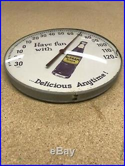 Rare Vintage 1960's NuGrape Nu Grape Soda Pop 12 Round Metal Thermometer Sign