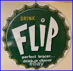 Rare Vintage 1960s Large 29 Drink Flip Bottle Cap Soda Advertising Metal Sign