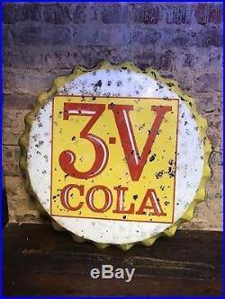 Rare Vintage 3 V Cola Soda Pop Bottle Cap Gas Station 28 Metal 3-V Stout Sign