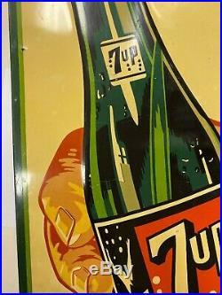 Rare Vintage 7 Up Fresh Up Soda Pop Bottle Gas Station Advertising Metal Sign