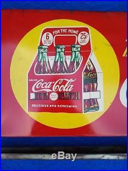 Rare Vintage Coca Cola Bag Holder Metal Sign