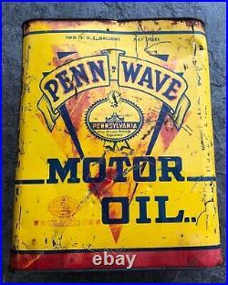 Rare Vintage Penn Wave 2 Gallon Metal Motor Oil Can Gas Station Petroleum