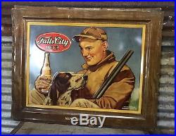 Rare Vtg 50s Falls City Beer Self Framed Metal Sign Hunting Mans Best Friend