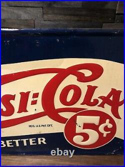 SCARCE Vintage Pepsi Cola Tin metal Advertising Sign Double Dot Large 40 x 22