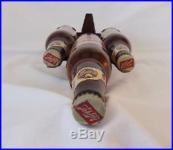 Schlitz Beer 3 Glass Bottle Display Back Bar Vintage Advertising Sign Metal Old