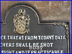 Shot POACHERS Will Be Shot Black Cast Iron Metal Sign/Plaque Notice