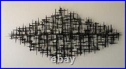 Signed Corey Ellis Art Retro Vintage MCM metal wall sculpture Curtis Jere USA