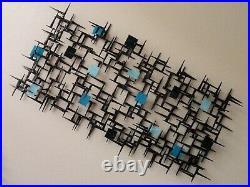 Signed Corey Ellis Square Abstract MCM VTG Metal Wall Sculpture Rare Art work