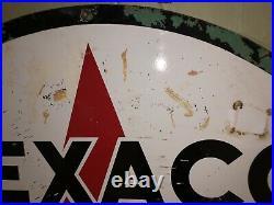 Texaco Vintage 1965 Double Sided Metal Porcelain Sign (6 ft. Diameter)