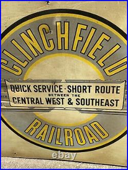 This is a Clinchfield Railroad Origional Metal Vintage Sign