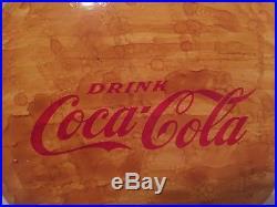 VINTAGE 1950's DRINK COCA COLA BUTTON SODA POP GAS STATION 24 METAL YELLOW