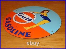 VINTAGE 1953 GULF GASOLINE Marilyn Monroe 11 3/4 PORCELAIN METAL GAS OIL SIGN