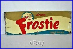 VINTAGE 1964 FROSTIE ROOT BEER soda pop gas station 28 EMBOSSED METAL sign