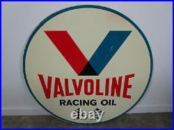 VINTAGE 30 VALVOLINE RACING OIL With CHECKERED FLAGS METAL ROUND GASOLINE SIGN 66