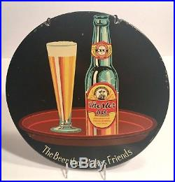 VINTAGE BEER Chester City Brewery Pa Sign Rare Advertising Metal Round Old Bar
