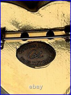 VINTAGE CHRISTIAN LACROIX HEART BROOCH Gilt metal signed 4.5cm