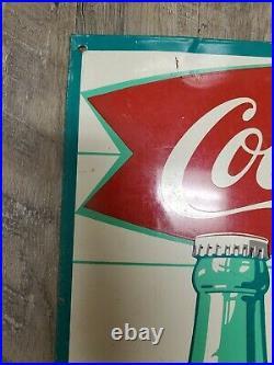 VINTAGE COCA COLA FISH TAIL METAL SIGN King Big Size Coke USA Robertson
