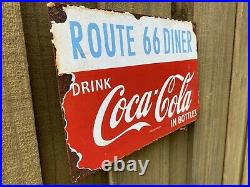 VINTAGE Coca Cola Porcelain Route 66 Diner Metal Gas & Oil Restaurant Coke Sign