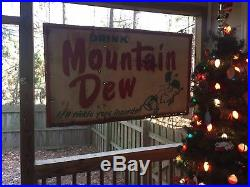 VINTAGE DRINK MOUNTAIN DEW HILLBILLY 60 x 36 METAL SIGN! VERY RARE