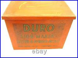 VINTAGE DURO METAL STORE DISPLAY, SIGN MAKER DECALS LETTER & NUMBERS, 3 x 1-1/4