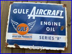 VINTAGE Gulf Aircraft Porcelain LARGE Aviation Air Plane Metal Gas & Oil Sign