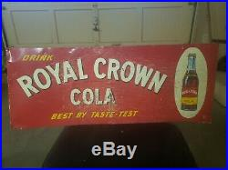 VINTAGE METAL EMBOSSED ROYAL CROWN COLA RC ADVERTISING SIGN gas station oil