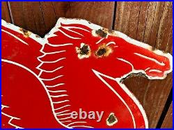 VINTAGE MOBIL MOBILGAS PEGASUS HORSE 29 x 18 PORCELAIN METAL GASOLINE OIL SIGN