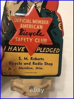 VINTAGE NOS 1940s METAL BICYCLE BADGE TOPPER SIGN MERIDIAN MISS POLICEMAN OIL