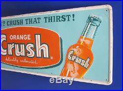 VINTAGE. Orange Crush. EMBOSSED. METAL. SIGN! EXCELLENT! Advertising, coca-cola