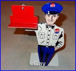 VINTAGE PEPSI COLA SODA POP SALESMAN 12 METAL BUSINESS CARD HOLDER SIGN With BASE