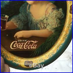 VINTAGE RARE c. 1909 LITHO'D METAL COCA-COLA SODA FOUNTAIN SERVING TRAY