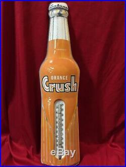 VINTAGE Rare 1950s Orange Crush Soda 29 Metal Thermometer Sign