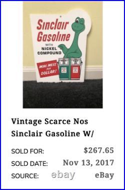 VINTAGE SINCLAIR GASOLINE With DINO DINOSAUR +GAS PUMP 12 METAL GASOLINE OIL SIGN