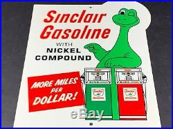 VINTAGE SINCLAIR GASOLINE With DINO & GAS PUMPS 12 BAKED METAL GASOLINE OIL SIGN
