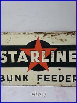 VINTAGE STARLINE FARM EQUIPMENT METAL SIGN SEED FEED GAS OIL BARN Embossed