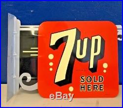 VINTAGE STOUT SIGN CO Metal FLANGE DOUBLE SIDED 7-UP SIGN NOS