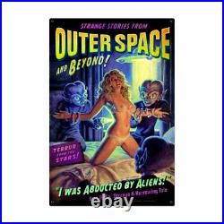 VINTAGE STYLE METAL SIGN Pinup Girl Alien Abduction 24 x 36