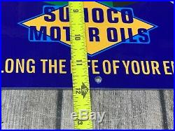 VINTAGE SUNOCO MOTOR OILS With CAR & GAS ATTENDANT 12 METAL GASOLINE & OIL SIGN